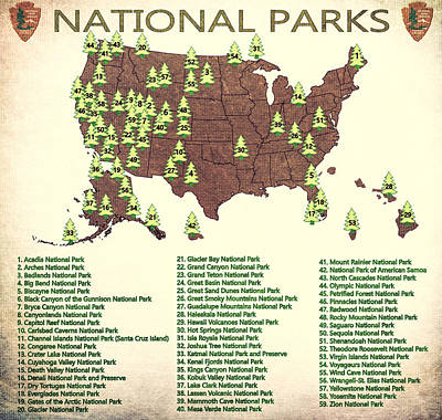 America National Parks Map Poster