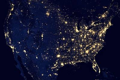 America United States At Night Poster by New York Prints