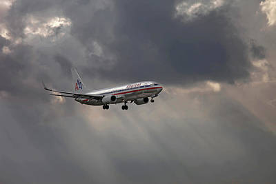American Aircraft Landing After The Rain. Miami. Fl. Usa Poster