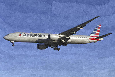 American Airlines Boeing 777 Aircraft Art Poster by David Pyatt