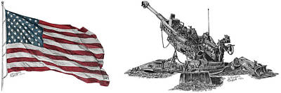 Poster featuring the drawing American Artillery by Betsy Hackett