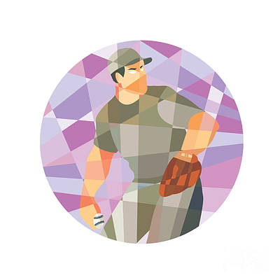 American Baseball Pitcher Throwing Ball Low Polygon Poster by Aloysius Patrimonio