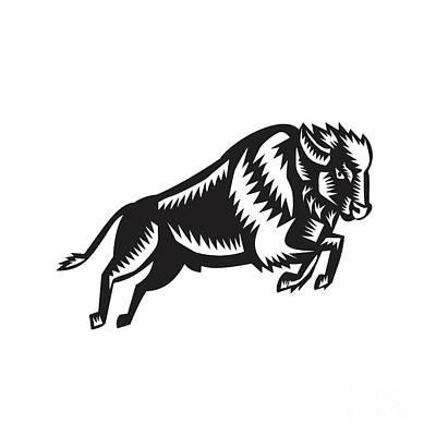 American Bison Buffalo Jumping Woodcut Poster