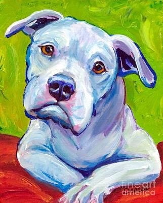 American Bulldog On Elbows Poster