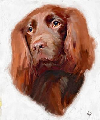 Spaniel Dog Art Canvas Print Of Vya Painting  Poster by Vya Artist