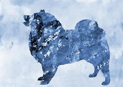 American Eskimo Dog-blue Poster
