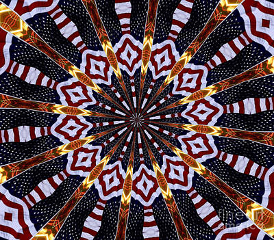 American Flag And Fireworks Kaleidoscope Abstract 2 Poster by Rose Santuci-Sofranko