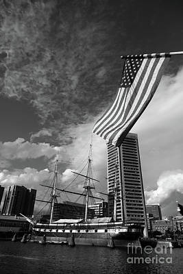 American Flag And Inner Harbor Baltimore Poster