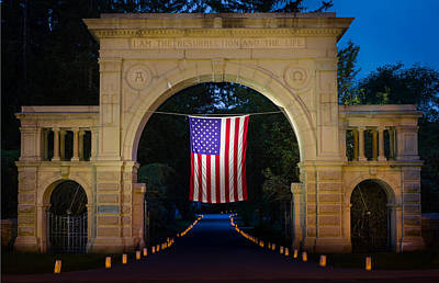 American Flag At Cemetery Gates - Mystic Ct Poster