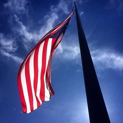 American Flag At Rick Case Honda Weston Poster