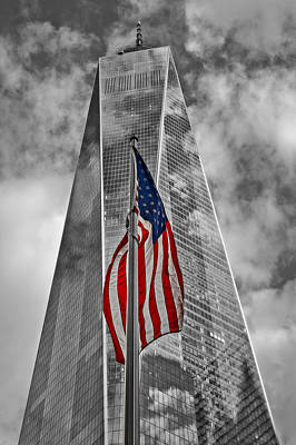 American Flag At World Trade Center Wtc Bw Poster by Susan Candelario