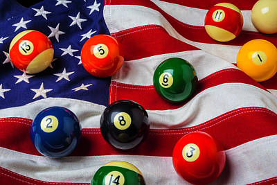American Flag With Game Pool Balls Poster