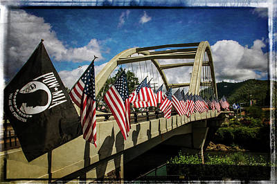 American Flags On Rogue River Bridge Poster by Mick Anderson