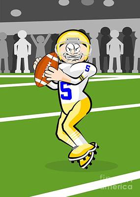 American Football Player Ready To Throw The Ball Poster