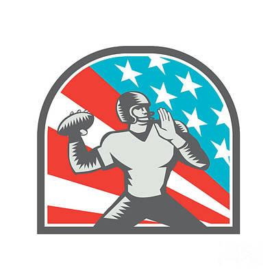 American Football Quarterback Qb Usa Flag Woodcut Poster