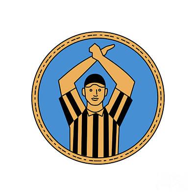American Football Umpire Hand Signal Circle Mono Line Poster