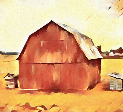 Poster featuring the painting American Gothic Red Barn by Dan Sproul