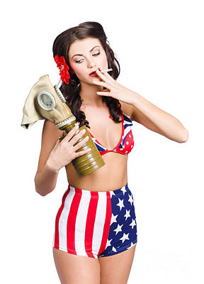 American Military Pin Up Girl Holding Gasmask  Poster