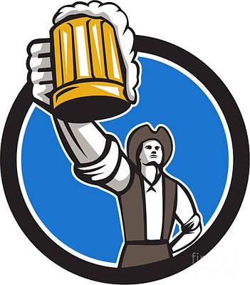 American Patriot Craft Beer Mug Toasting Circle Retro Poster