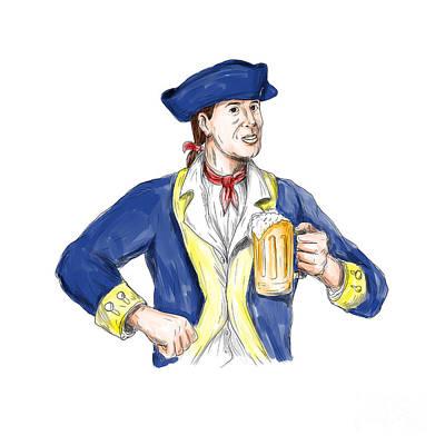American Patriot Holding Beer Mug Toast Watercolor Poster