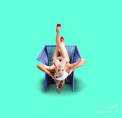 American Pinup Woman Upside Down On Cane Chair Poster by Jorgo Photography - Wall Art Gallery