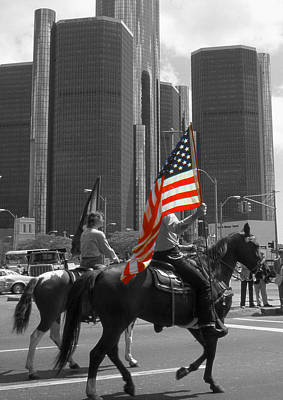 American Pride - Detroit Highlight Poster by Art America Gallery Peter Potter