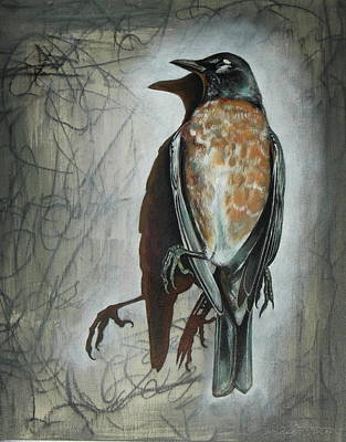 Poster featuring the mixed media American Robin by Sheri Howe
