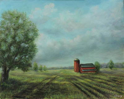 Poster featuring the painting American Scene Red Barn  by Katalin Luczay