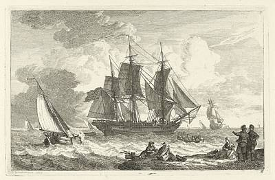 American Ship In Troubled Waters Poster by Celestial Images