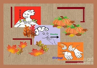 American Sign Language Asl Happy Thanksgiving Poster