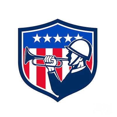 American Soldier Bugler Reveille Usa Flag Crest Retro Poster by Aloysius Patrimonio
