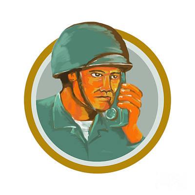 American Soldier Serviceman Calling Radio Watercolor Poster