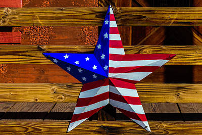 American Star On Wooden Fence Poster by Garry Gay