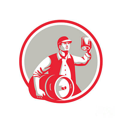 American Worker Keg Toast Beer Mug Circle Retro Poster