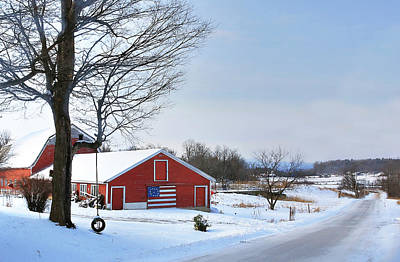 Poster featuring the digital art Americana Barn In Vermont by Sharon Batdorf