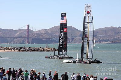 America's Cup Racing Sailboats In The San Francisco Bay - 5d18253 Poster by Wingsdomain Art and Photography