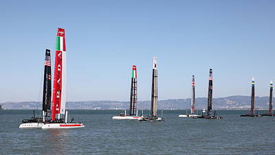 America's Cup Sailboats In San Francisco - 5d18205 Poster by Wingsdomain Art and Photography