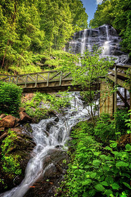 Poster featuring the photograph Amicalola Falls Top To Bottom by Debra and Dave Vanderlaan