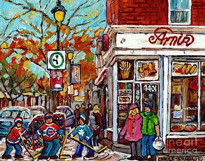 Amir Rue Wellington Verdun Restaurant Painting Hockey Art Canadian City Scene Carole Spandau         Poster by Carole Spandau