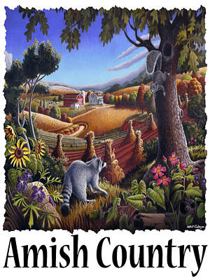 Amish Country - Coon Gap Holler Country Farm Landscape Poster by Walt Curlee