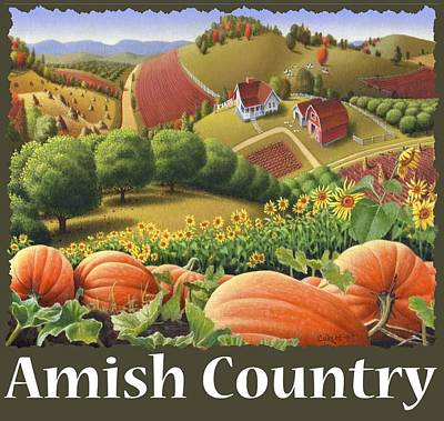 Amish Country T Shirt - Pumpkin Patch Country Farm Landscape 2 Poster by Walt Curlee