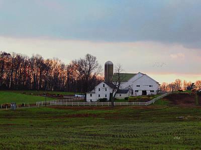 Amish Farm At Dusk Poster