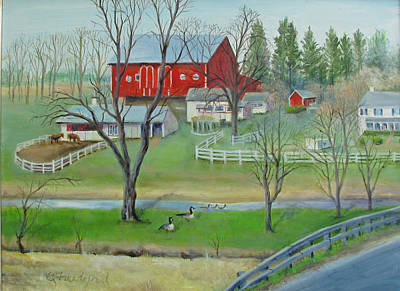 Poster featuring the painting Amish Farm by Oz Freedgood