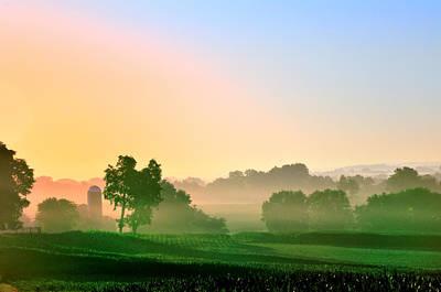 Amish Farm Sunrise Poster