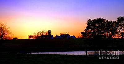 Amish Farm Sunset Poster by Olivier Le Queinec
