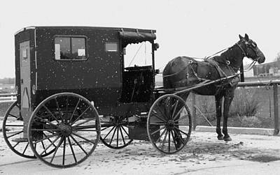 Amish Horse And Buggy In Snow Black And White Poster