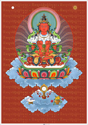 Amitayus With Mantra Poster by Fred Van der Zee