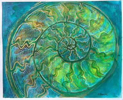 Poster featuring the painting Ammonite Number One by Laurie Maves ART