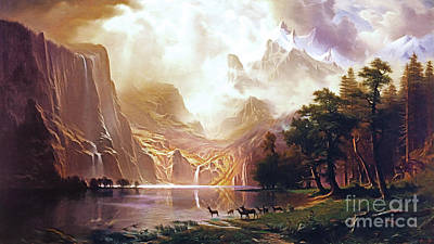 Poster featuring the painting Among The Sierra Nevada California By Albert Bierstadt 20170409 by Wingsdomain Art and Photography