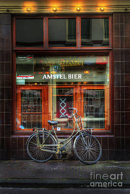 Amstel Bier Bicycle Poster by Craig J Satterlee